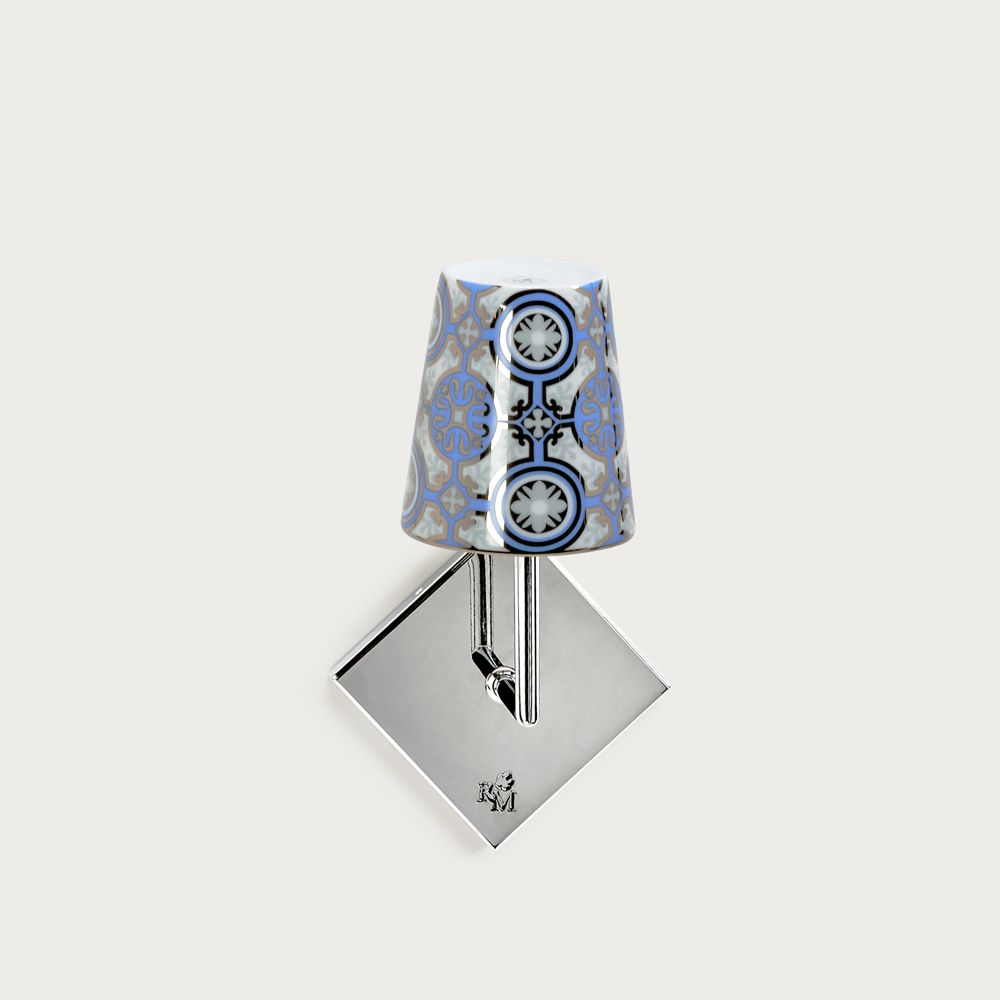 Chrome wall fitting Lourmarin - lampshade casteu blue sky