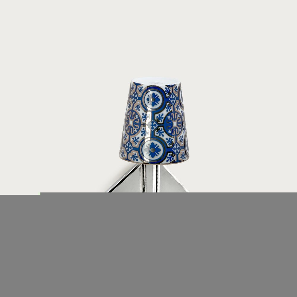 Chrome wall fitting Lourmarin - lampshade casteu blue