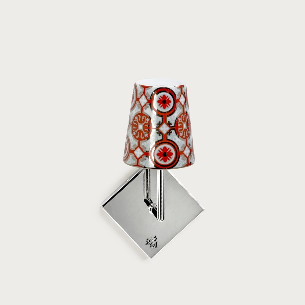 Chrome wall fitting Lourmarin - lampshade casteu red