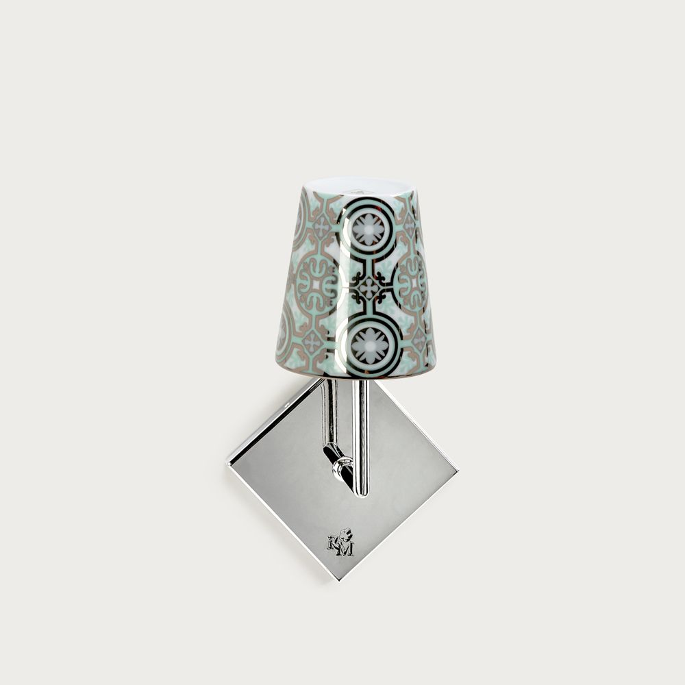 Chrome wall fitting Lourmarin - lampshade casteu green