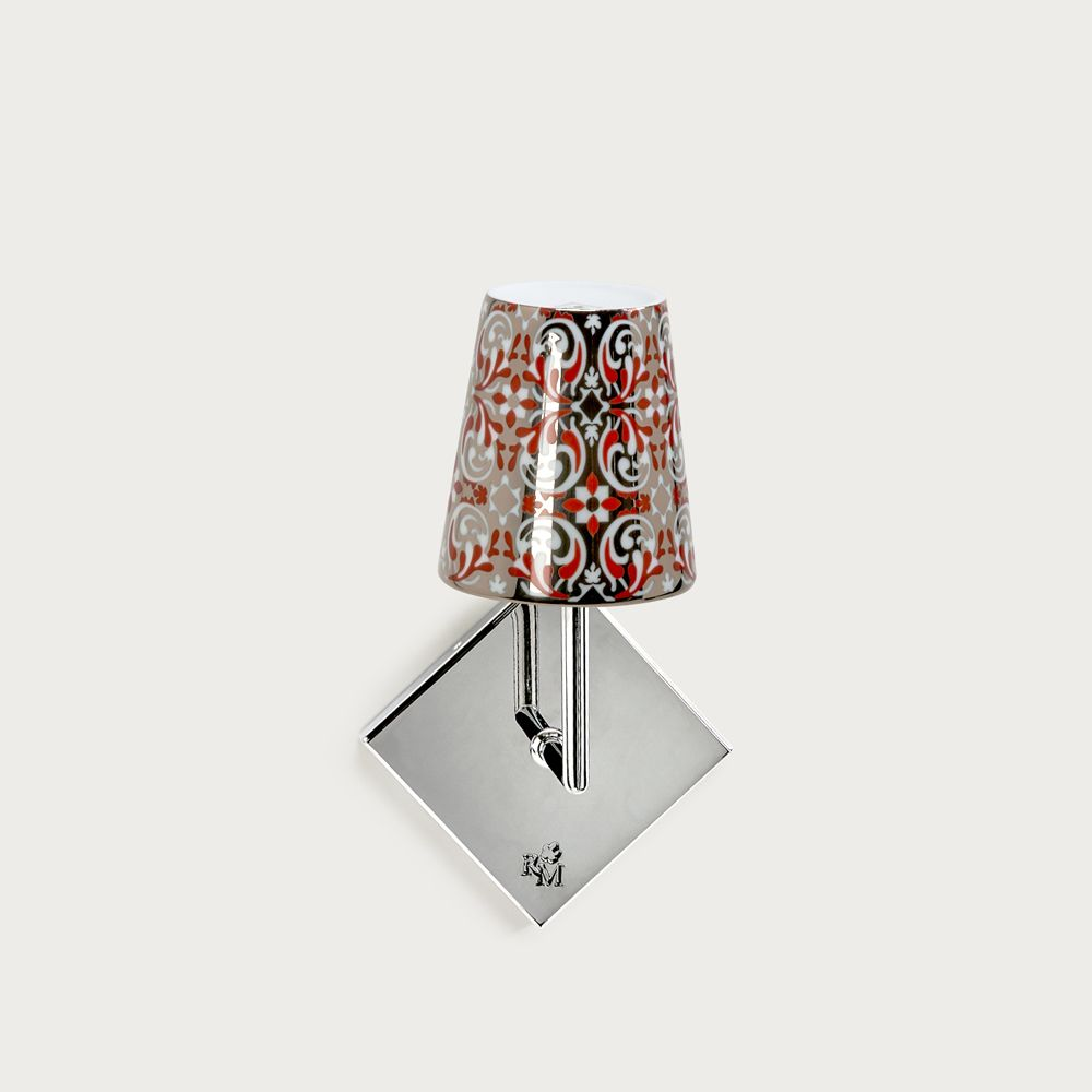 Chrome wall fitting Lourmarin - lampshade oustau red