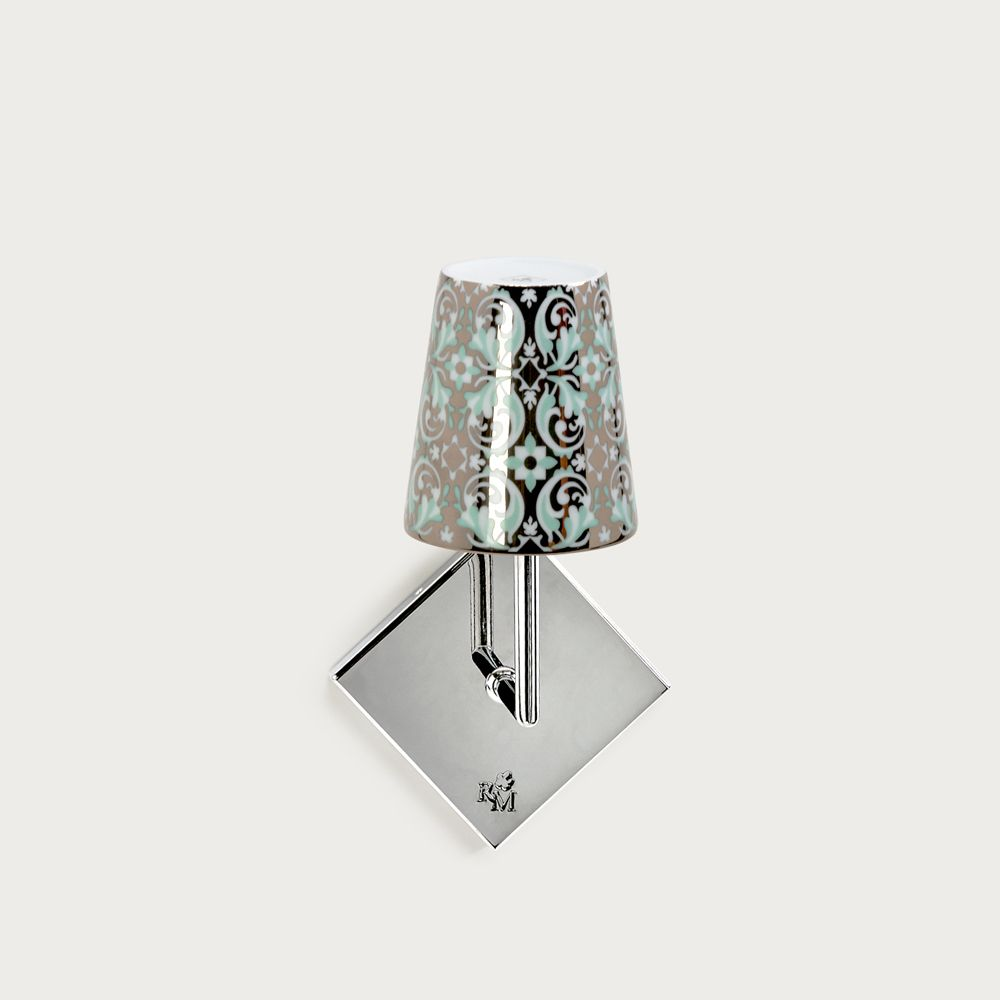 Chrome wall fitting Lourmarin - lampshade oustau green