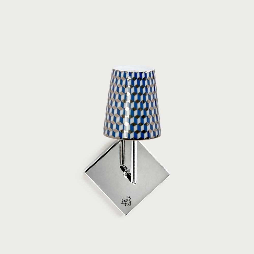 Chrome wall fitting Lourmarin - lampshade tometo blue