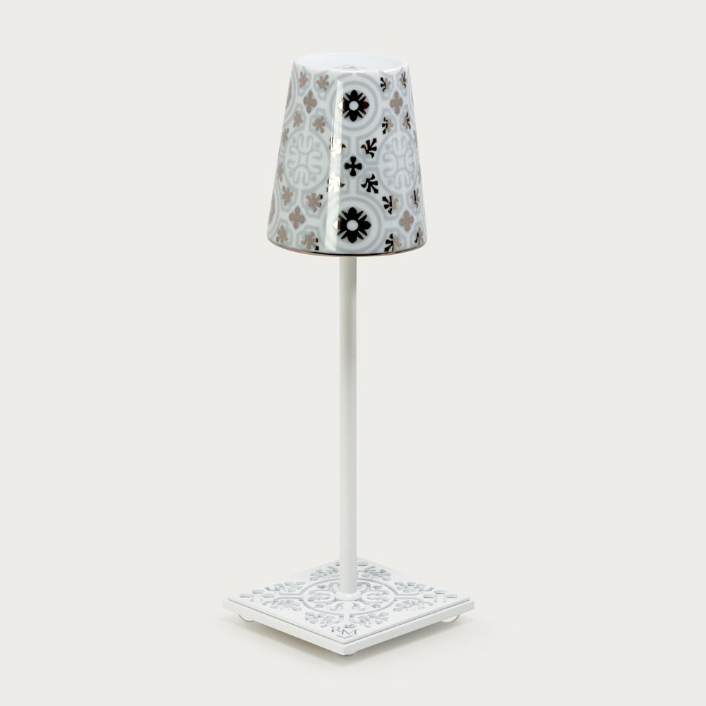 White table lamp Egalyères - lampshade casteu gray