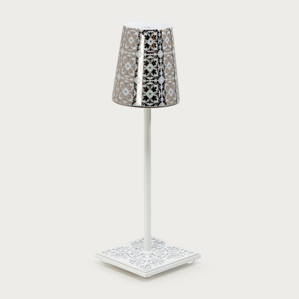 White table lamp Egalyères - lampshade cabanoun gray