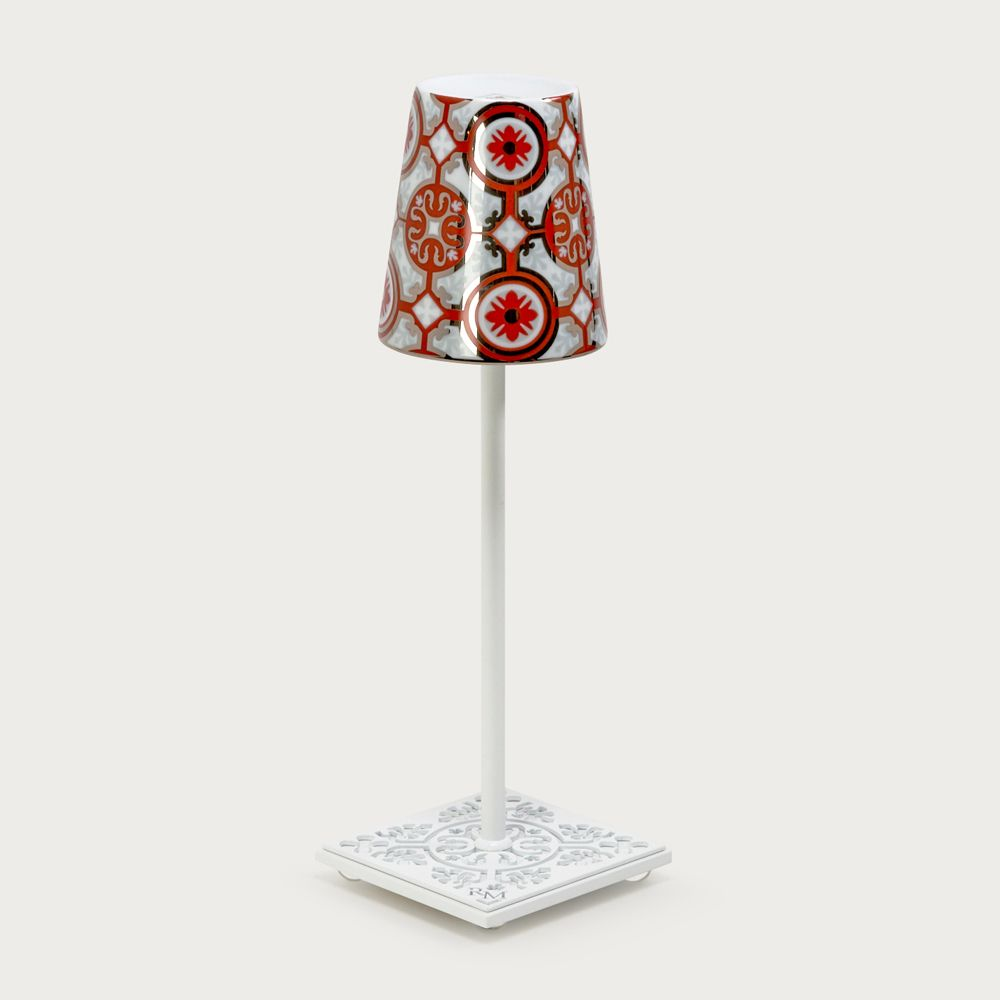 White table lamp Egalyères - lampshade casteu red