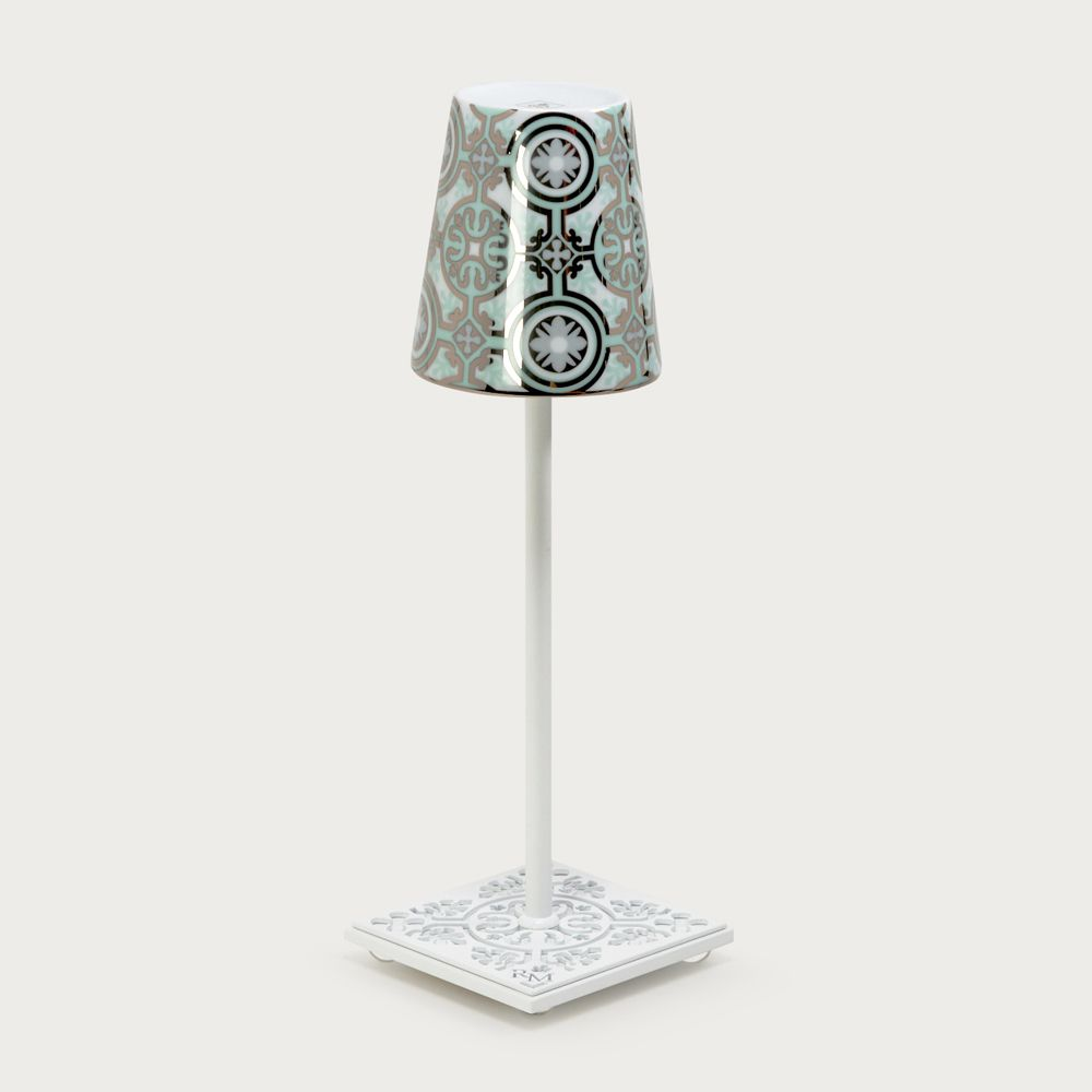 White table lamp Egalyères - lampshade casteu green