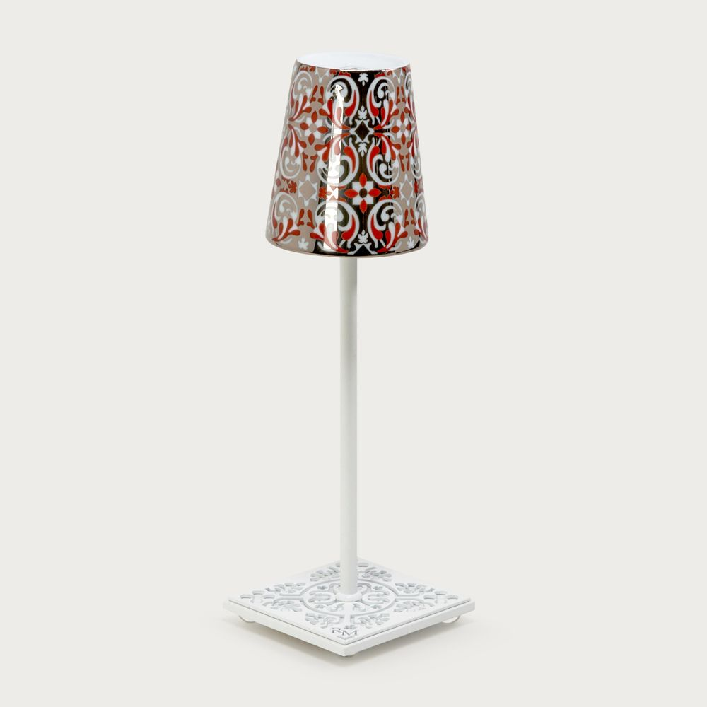 White table lamp Egalyères - lampshade oustau red