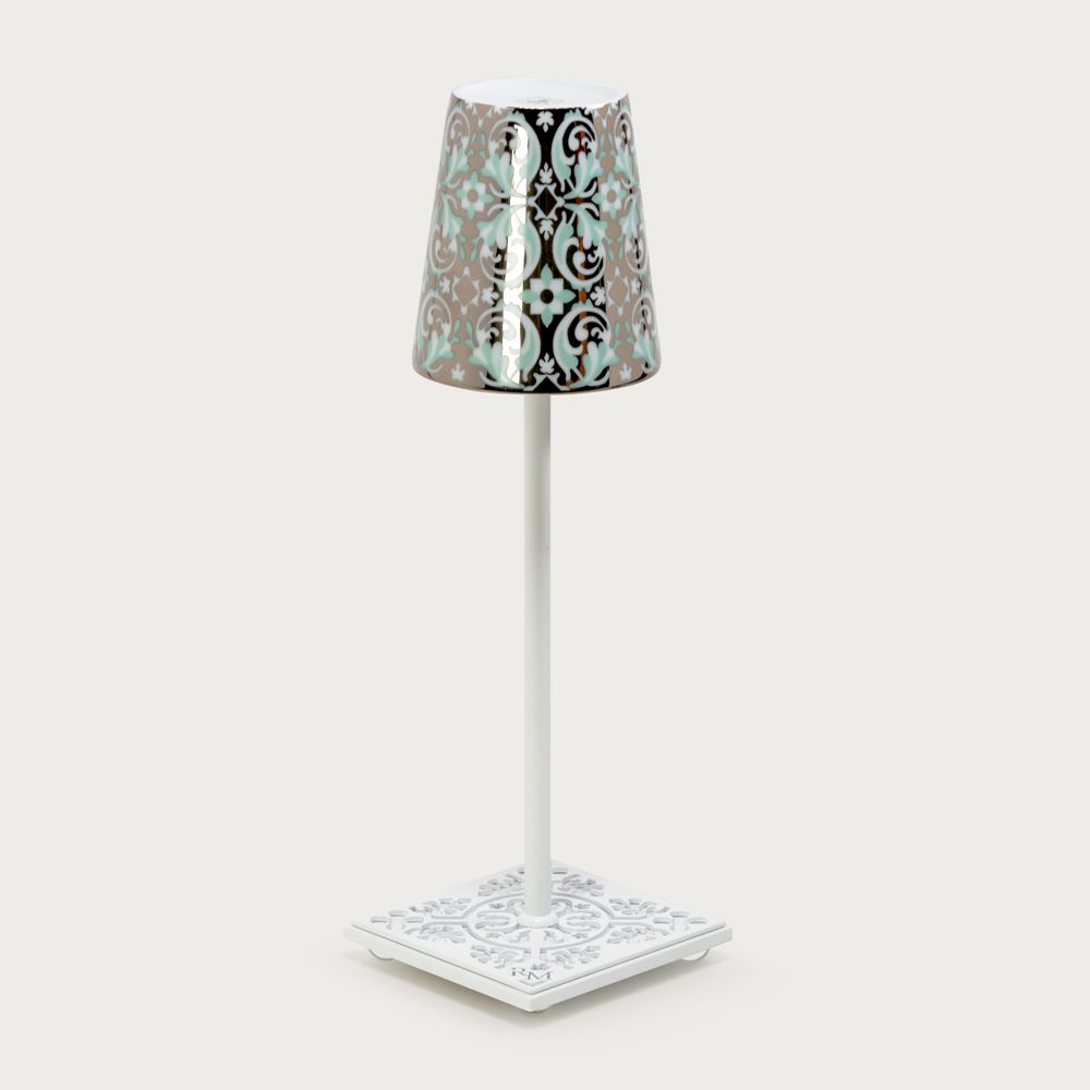 White table lamp Egalyères - lampshade oustau green