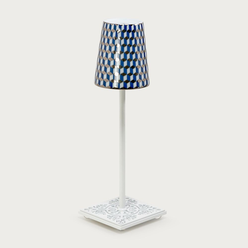 White table lamp Egalyères - lampshade tometo blue