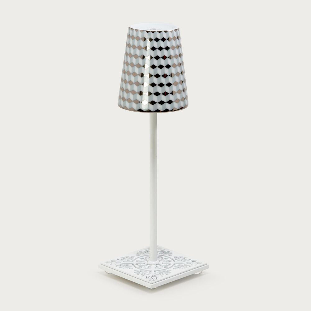 White table lamp Egalyères - lampshade tometo gray