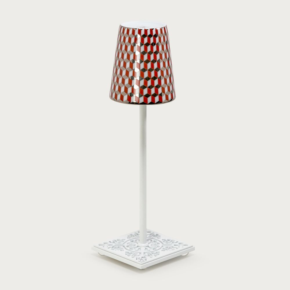 White table lamp Egalyères - lampshade tometo red