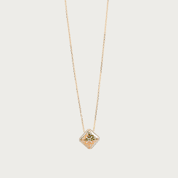 Gold 750 necklace - tame gold & white