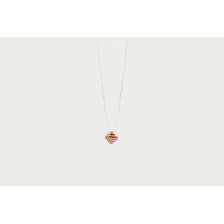 Collier argent - tometo rouge