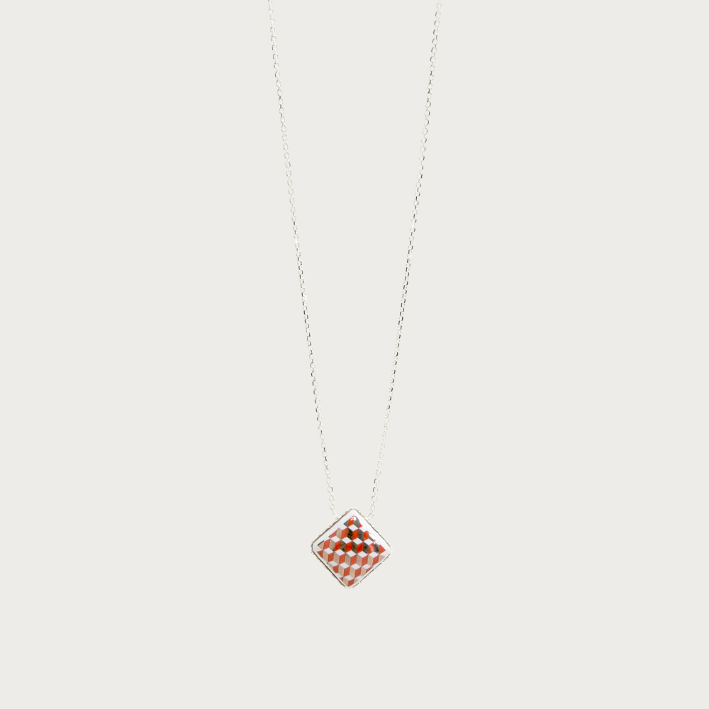 Silver necklace - tometo red