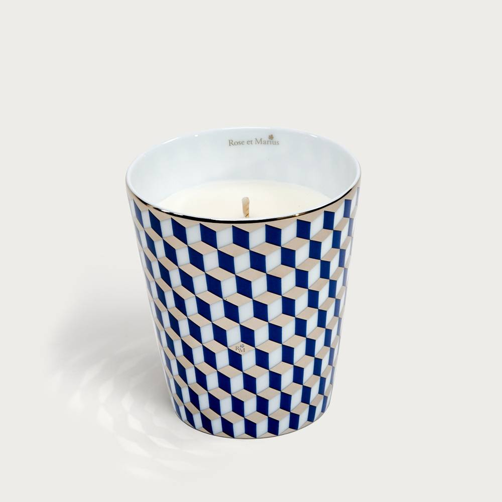 Precious refillable candle - mini tometo blue platinum