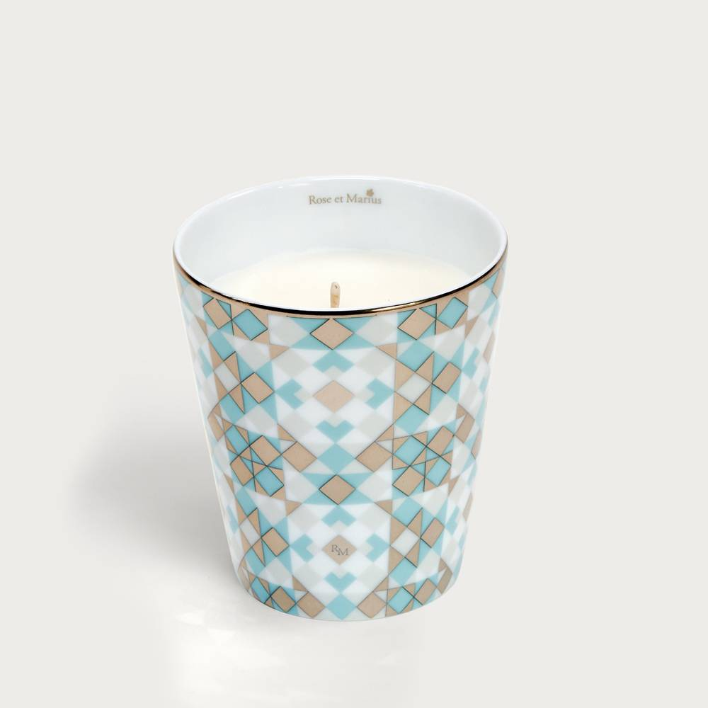 Precious refillable candle - souleu pattern turquoise