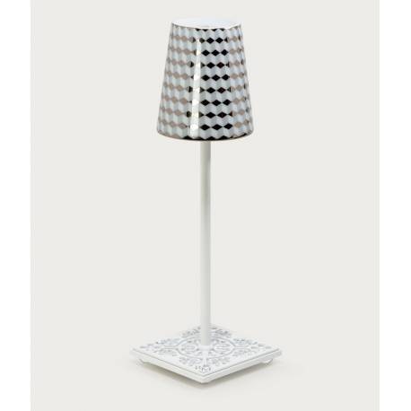 LAMPE EYGALIERES Blanche - Abat-jour TOMETO GRIS