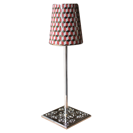 LAMPE EYGALIERES Chrome - Abat-jour TOMETO ROUGE